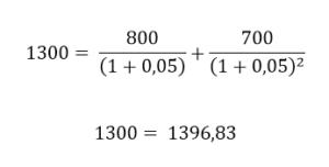 Exemplo com taxa de 5 %