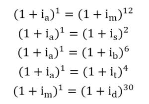 equações para conversão de taxas de juros