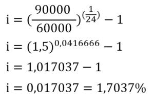 exemplo resolução do cálculo da taxa de juros