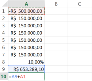calculo do VPL no Excel
